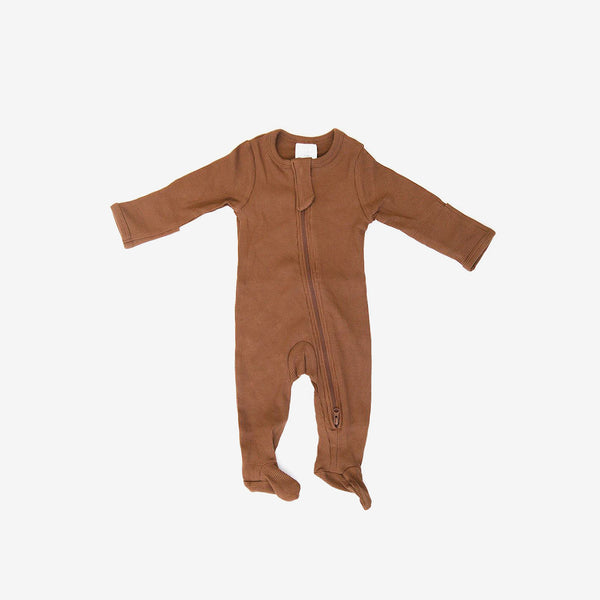 Organic Cotton Rib Zipper Footed One-Piece Romper - Rust