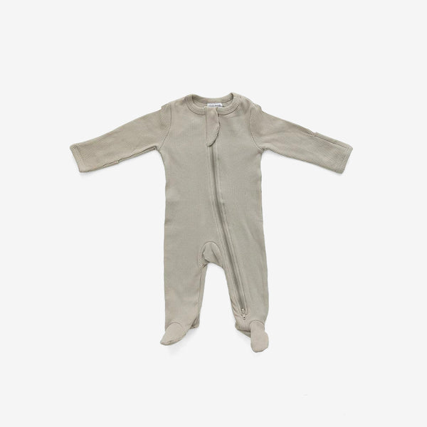 Organic Cotton Rib Zipper Footed One-Piece Romper - Sagebrush