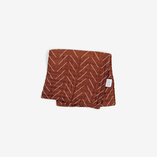 Cotton Muslin Burp Cloth - Rust Mudcloth