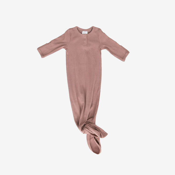 Organic Cotton Rib Knotted Baby Gown - Dusty Rose