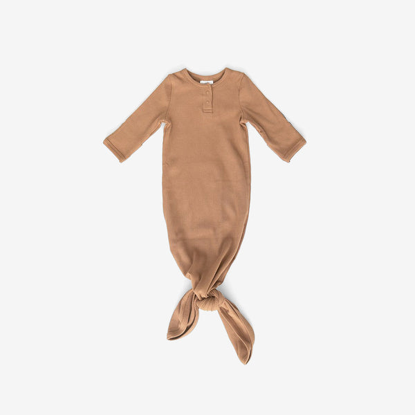 Organic Cotton Rib Knotted Baby Gown - Mustard