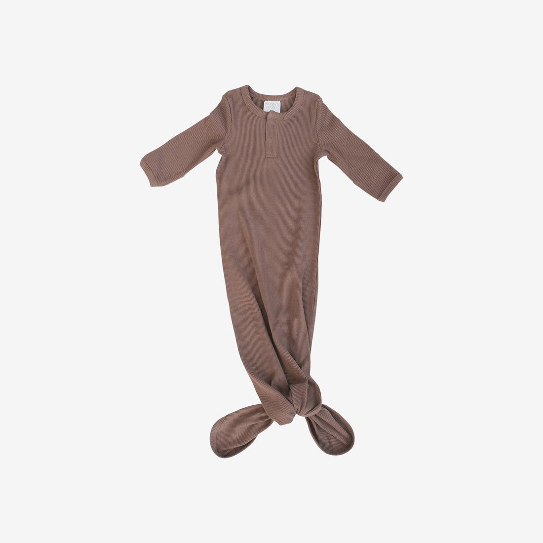 Organic Cotton Rib Knotted Baby Gown - Plum