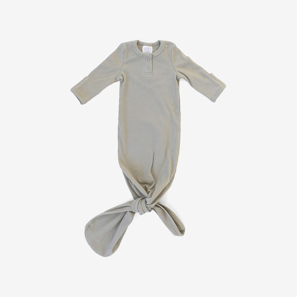 Organic Cotton Rib Knotted Baby Gown - Sagebrush