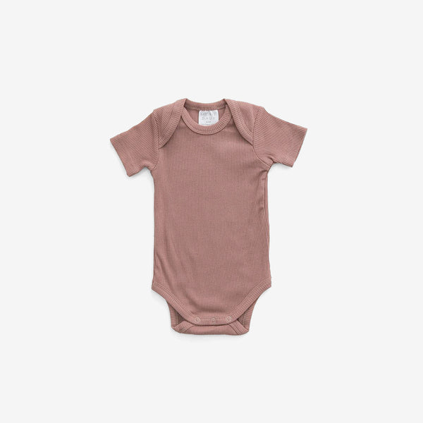 Organic Cotton Rib S/S Bodysuit Onesie - Dusty Rose