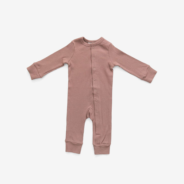 Organic Cotton Rib Romper - Dusty Rose