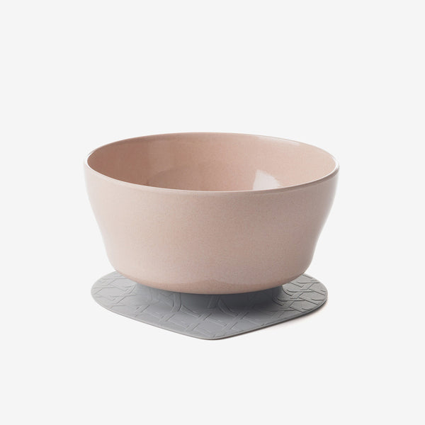 Bamboo Cereal Bowl with Suction Foot - Stone