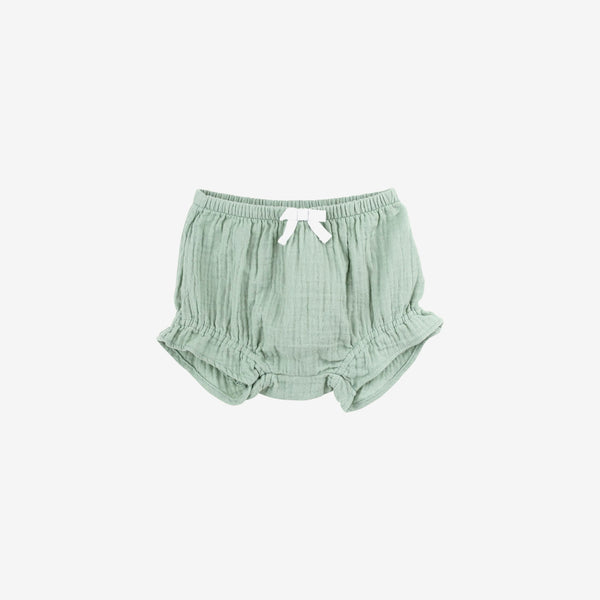 Organic Double Gauze Ruffle Bloomer - Aqua Grey