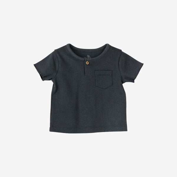Organic Honeycomb-Knit S/S Henley - Charcoal