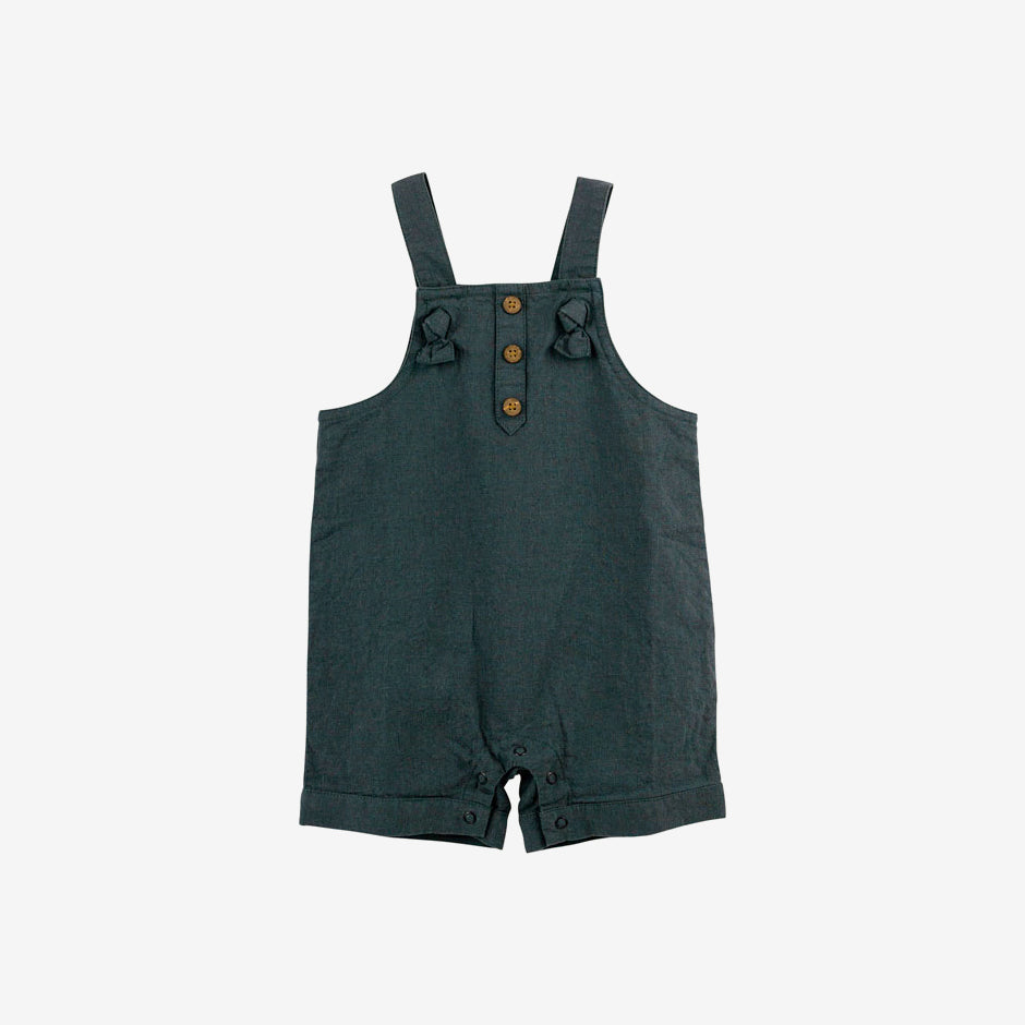 Organic Linen Blend Knotted Shortall - Charcoal
