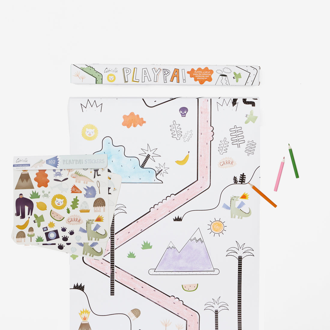 Playpa Drawing Roll & Stickers Set - Jungle