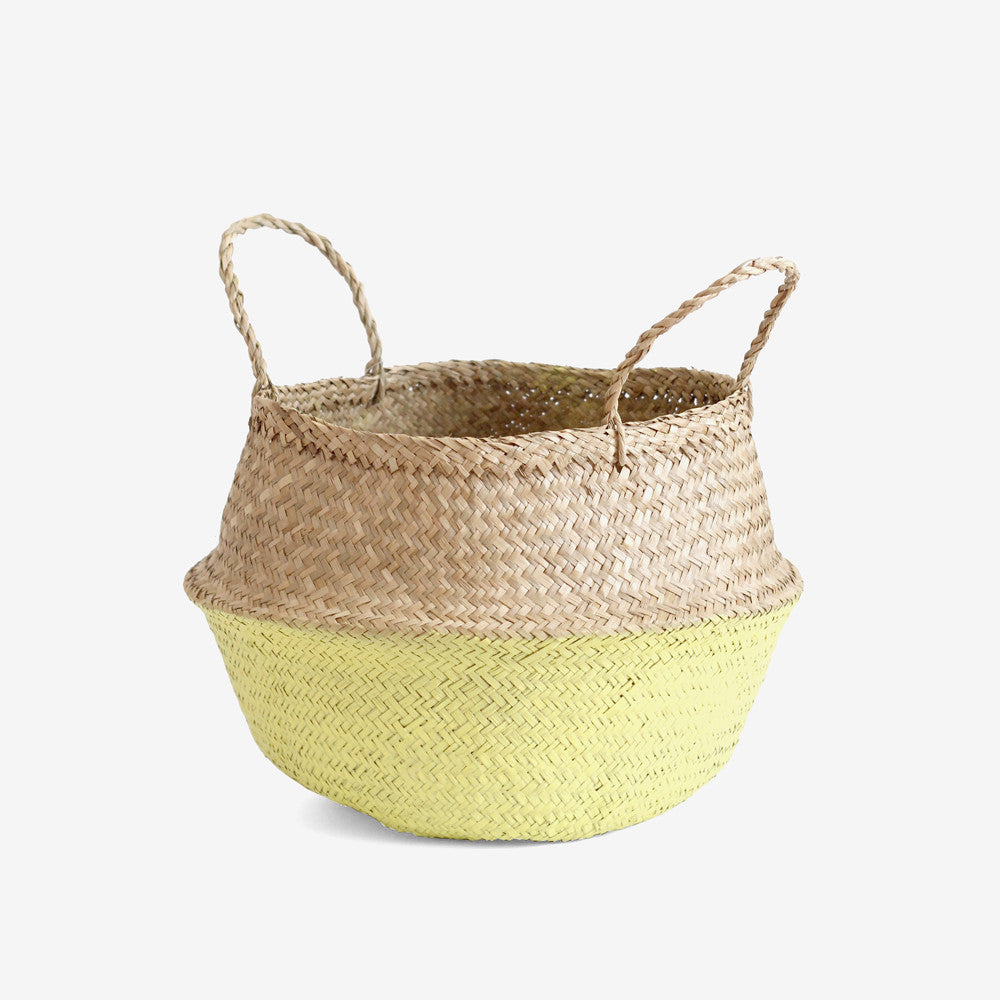 Seagrass Belly Basket - Medium Yellow