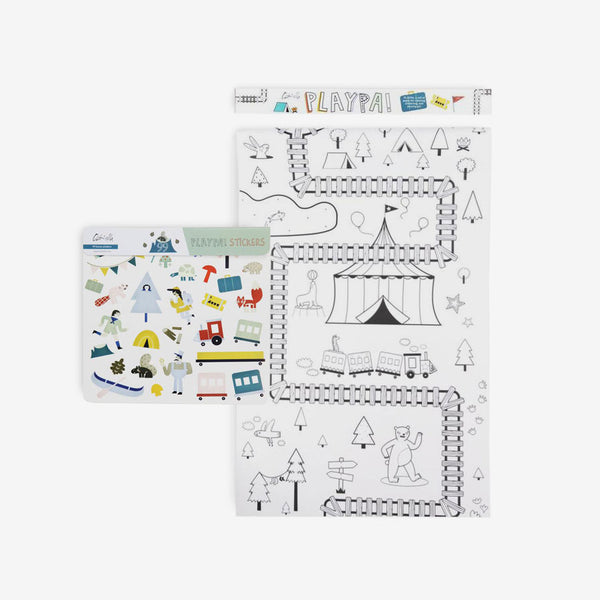 Playpa Drawing Roll & Stickers Set - Forest