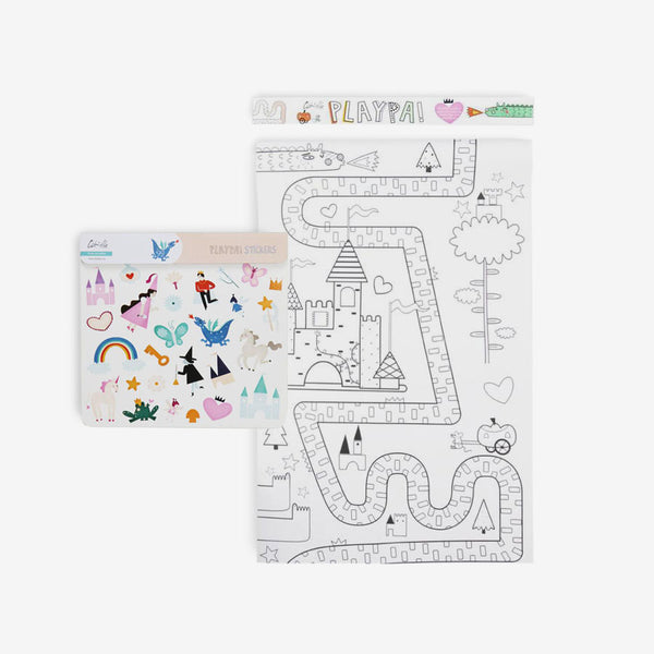 Playpa Drawing Roll & Stickers Set - Fairy tale