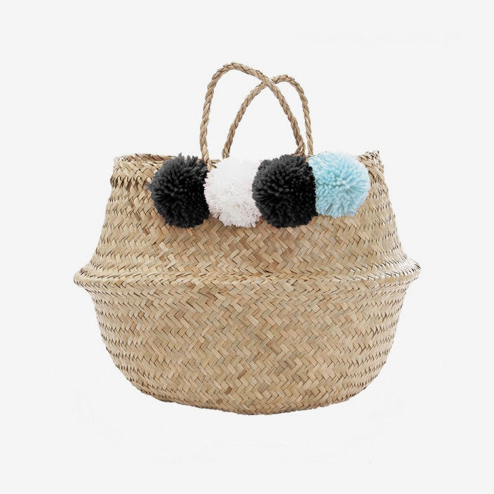 PomPom Belly Basket - Large Blue/Black