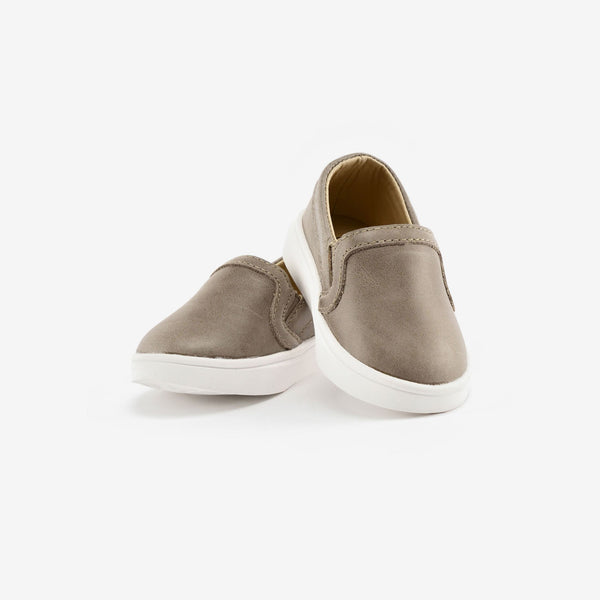Slip-On Leather Sneakers - Stone