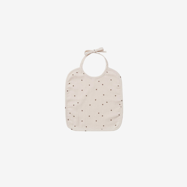 Organic Double Gauze Woven Tie Bib - Natural Star