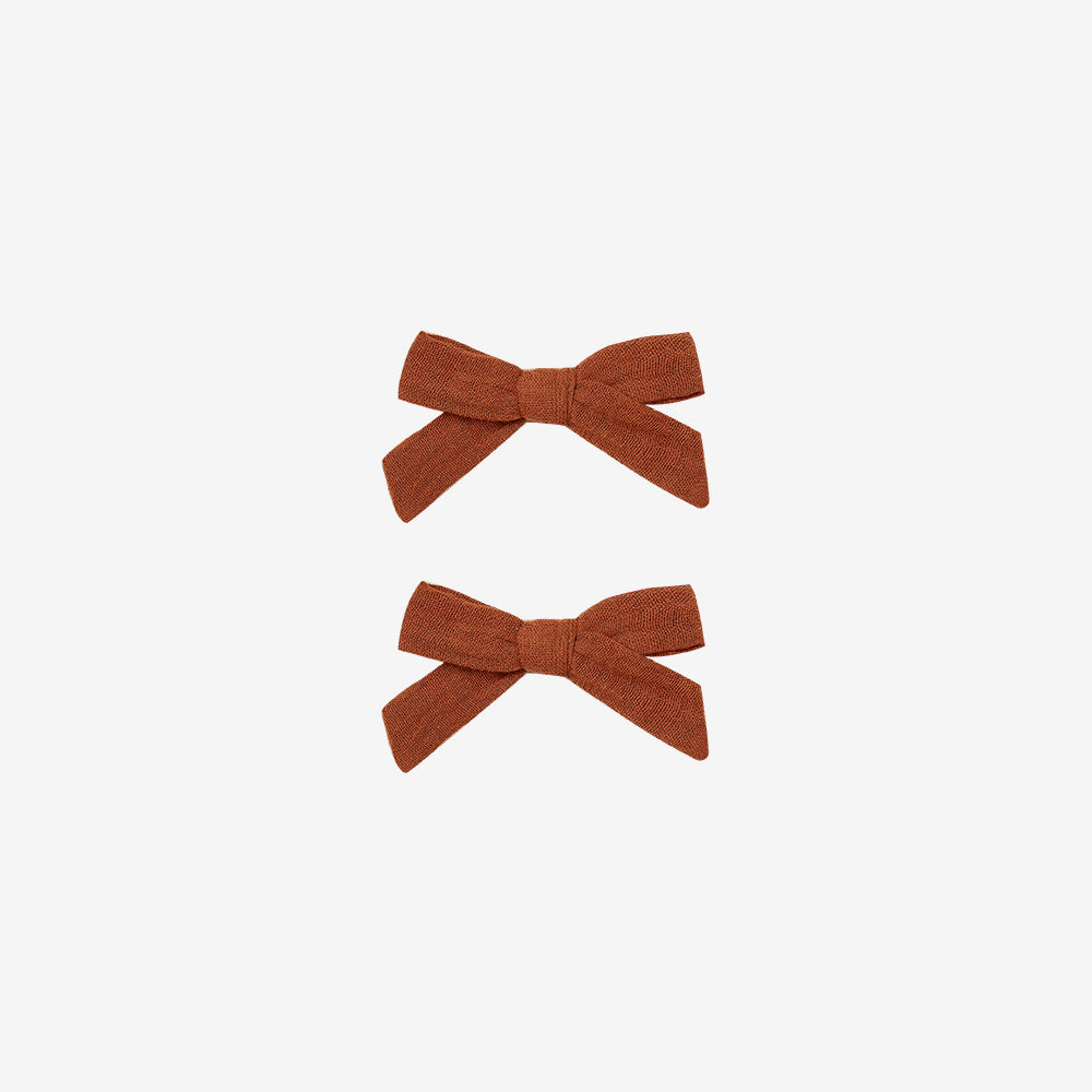 Cotton Hair Bow Clips Set - Amber