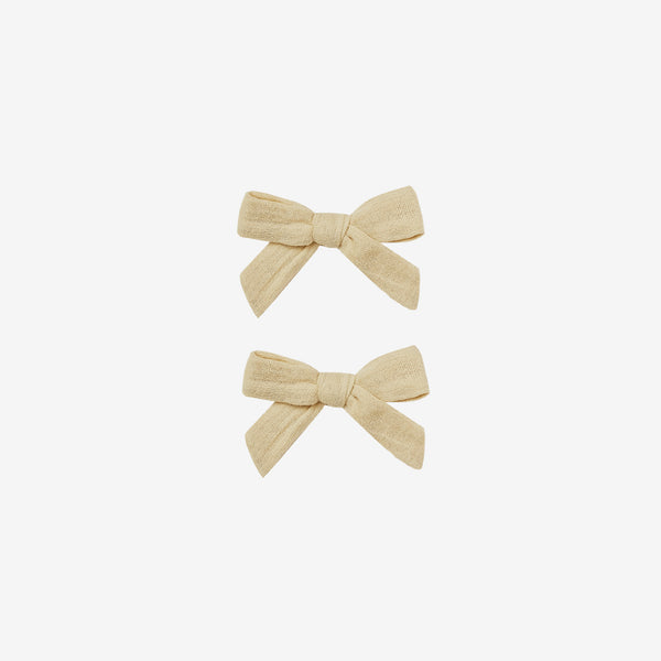 Cotton Hair Bow Clips Set - Butter