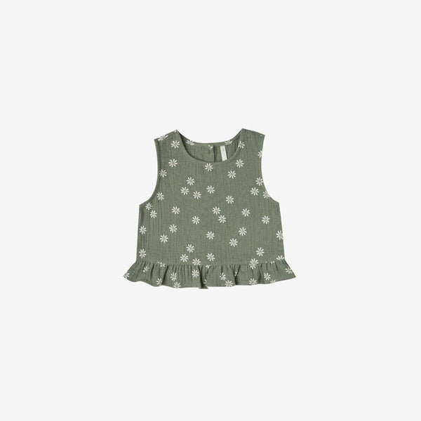 Oceanside Cotton Crepe Tank Top - Fern Daisy