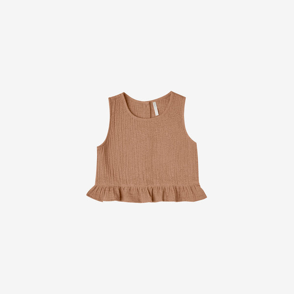 Oceanside Cotton Crepe Tank Top - Terracotta