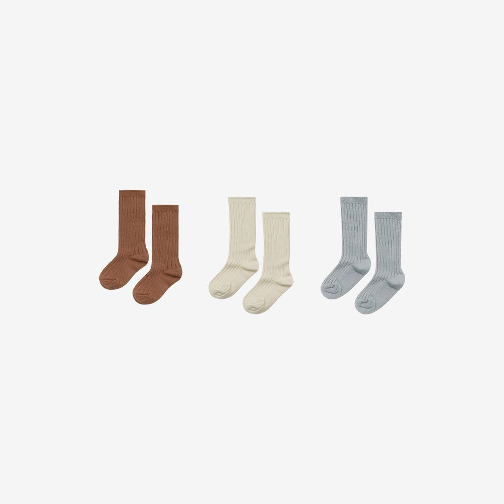 Organic Cotton Rib Knee Socks Set3 - Amber/Butter/Blue Fog