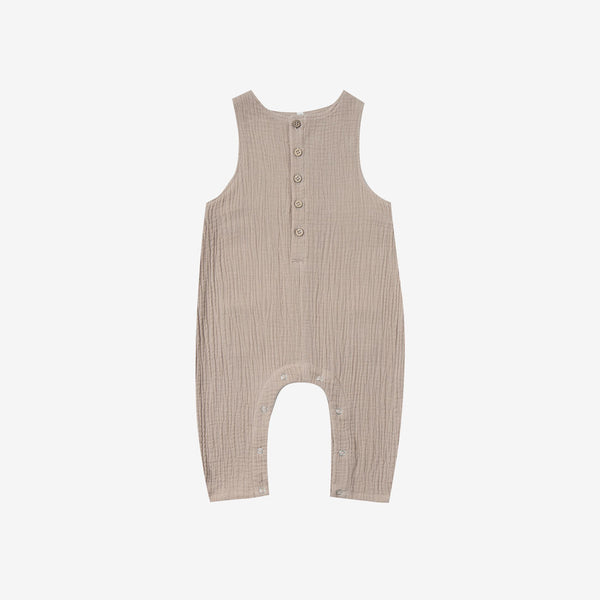 Sand Button-front Jumpsuit