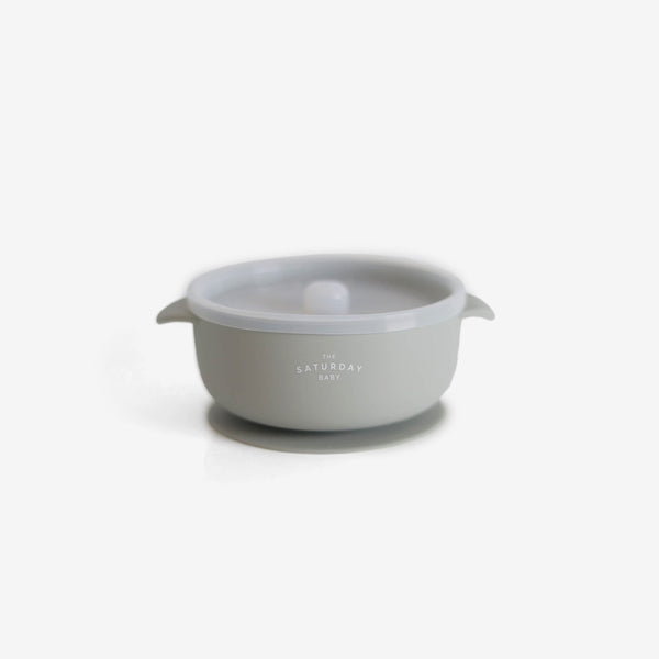 Silicone Suction Bowl w/ Lid - Sage