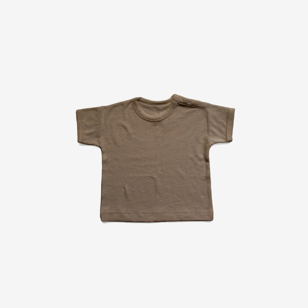 Organic Terry Boxy Tee - Walnut
