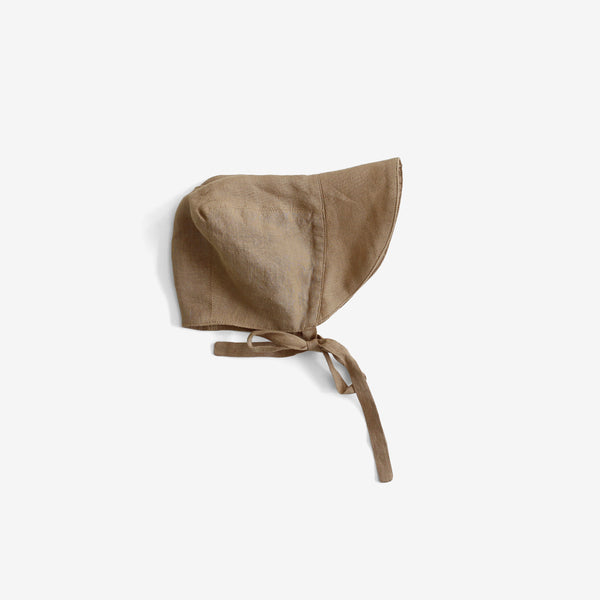The Old-Fashioned Organic Linen Brimmed Bonnet - Camel