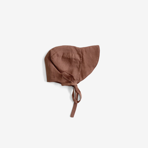The Old-Fashioned Organic Linen Brimmed Bonnet - Cinnamon