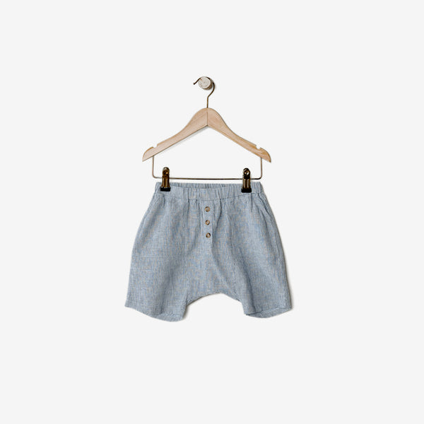 The Organic Cotton/Linen Explorer Shorts - French Stripe