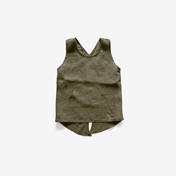 The Organic Linen Apron - Olive