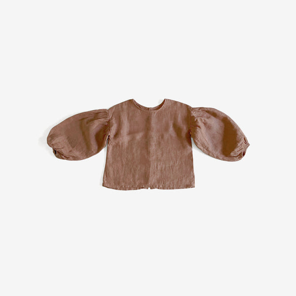 The Organic Linen Balloon-Sleeve Top - Cinnamon