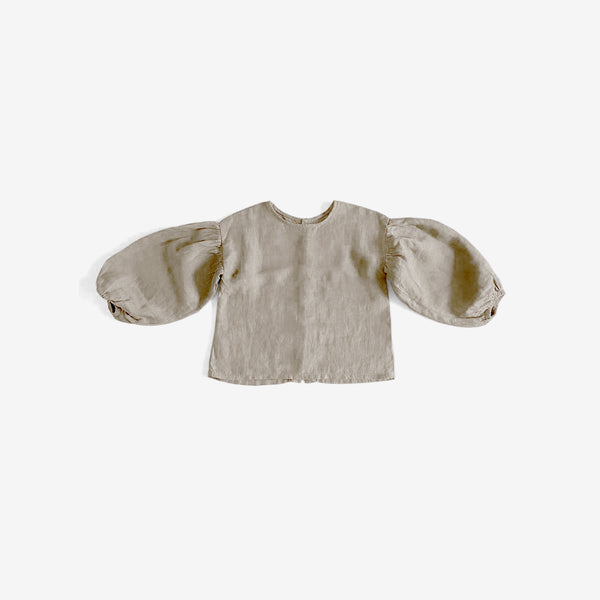 The Organic Linen Balloon-Sleeve Top - Oatmeal