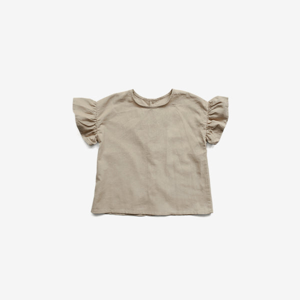 The Organic Linen Frill Top - Oatmeal