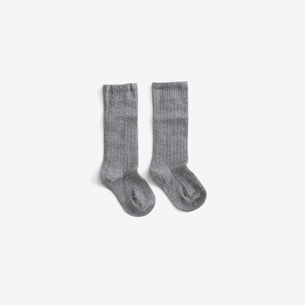 The Organic Ribbed Knee Sock - Grey