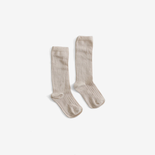 The Organic Ribbed Knee Sock - Oatmeal