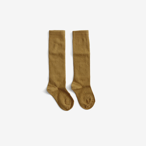 The Organic Ribbed Knee Sock - Ochre
