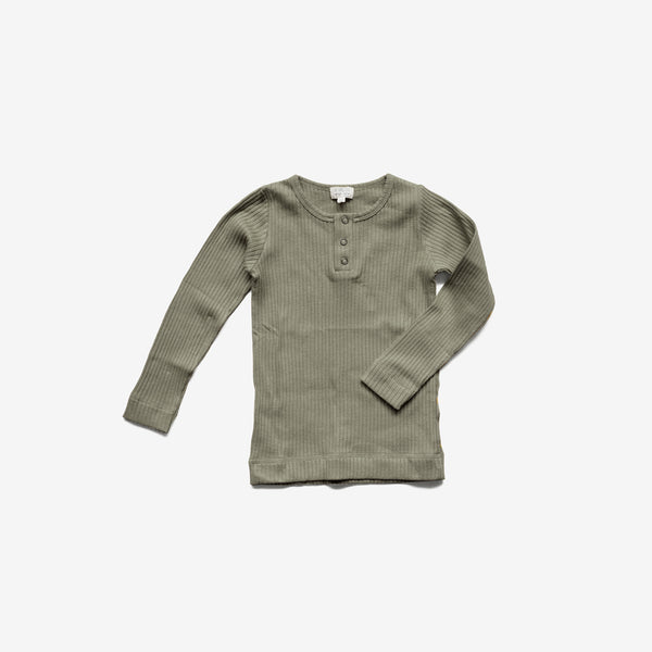 The Organic Ribbed L/S Henley - Sage