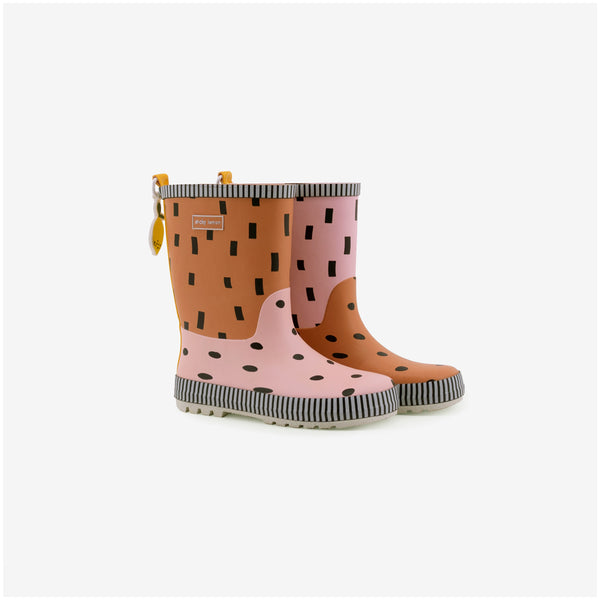 Sprinkles Rain Boots - Candy Pink + Faded Orange