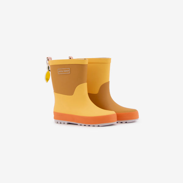 Sprinkles Rain Boots - Retro Yellow + Caramel Fudge