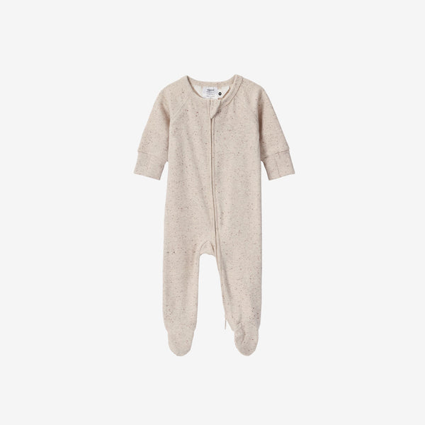 Organic Cotton Footed Zip Growsuit - Beige Speckled