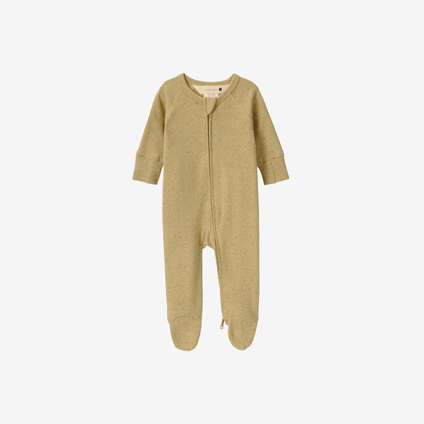 Organic Cotton Footed Zip Growsuit - Ginger Speckled