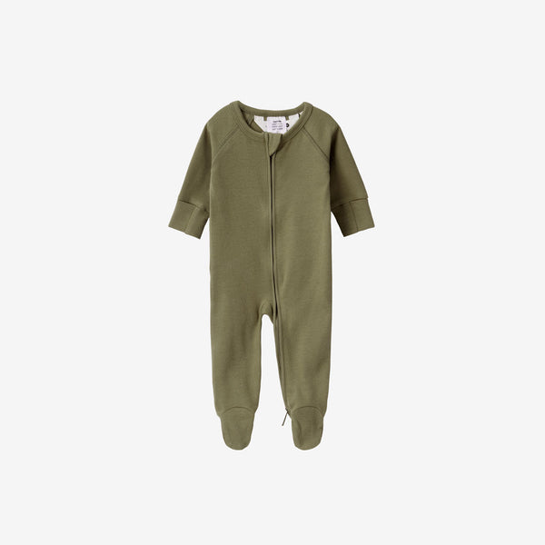 Organic Cotton Footed Zip Growsuit - Leaf