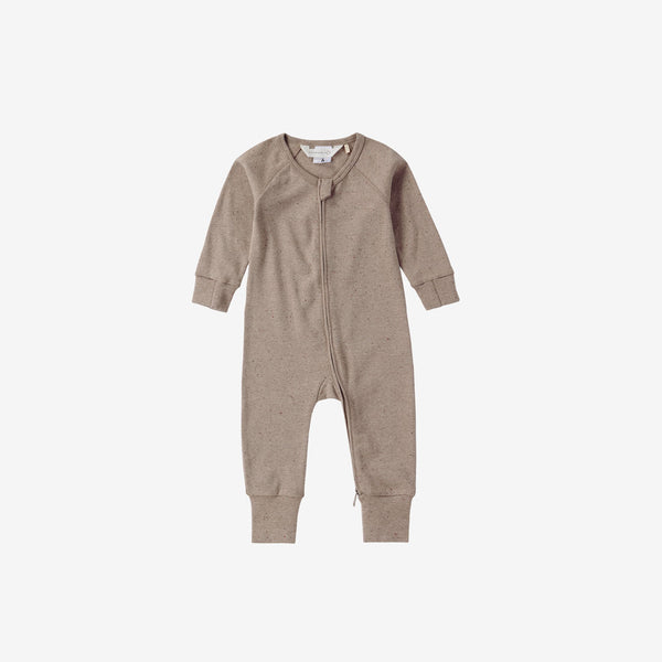 Organic Cotton Footed Zip Growsuit - Mushroom Speckled