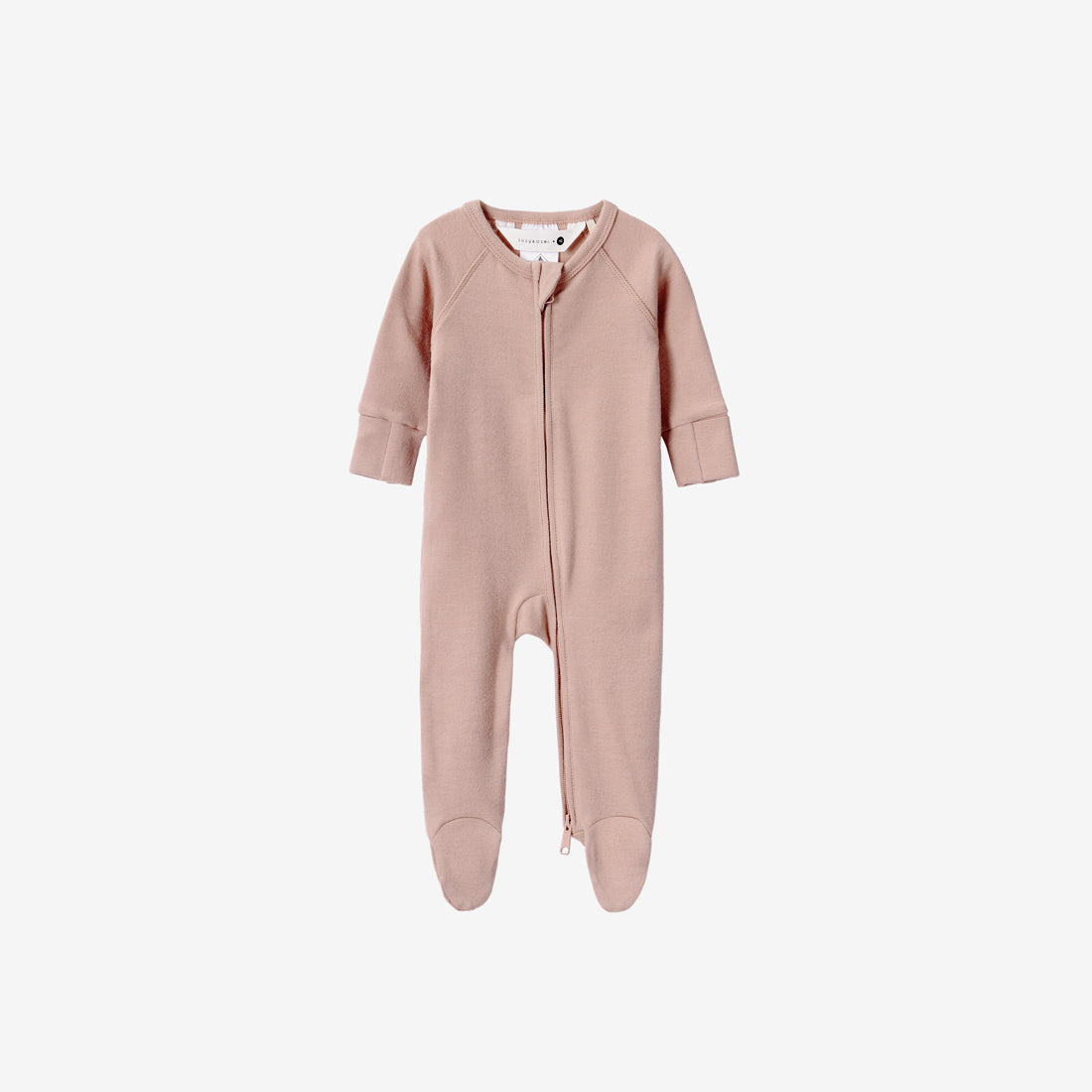 Organic Cotton Footed Zip Growsuit - Tan