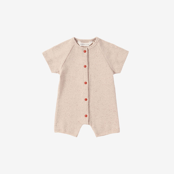 Organic Cotton S/S Snap Romper - Beige Speckled