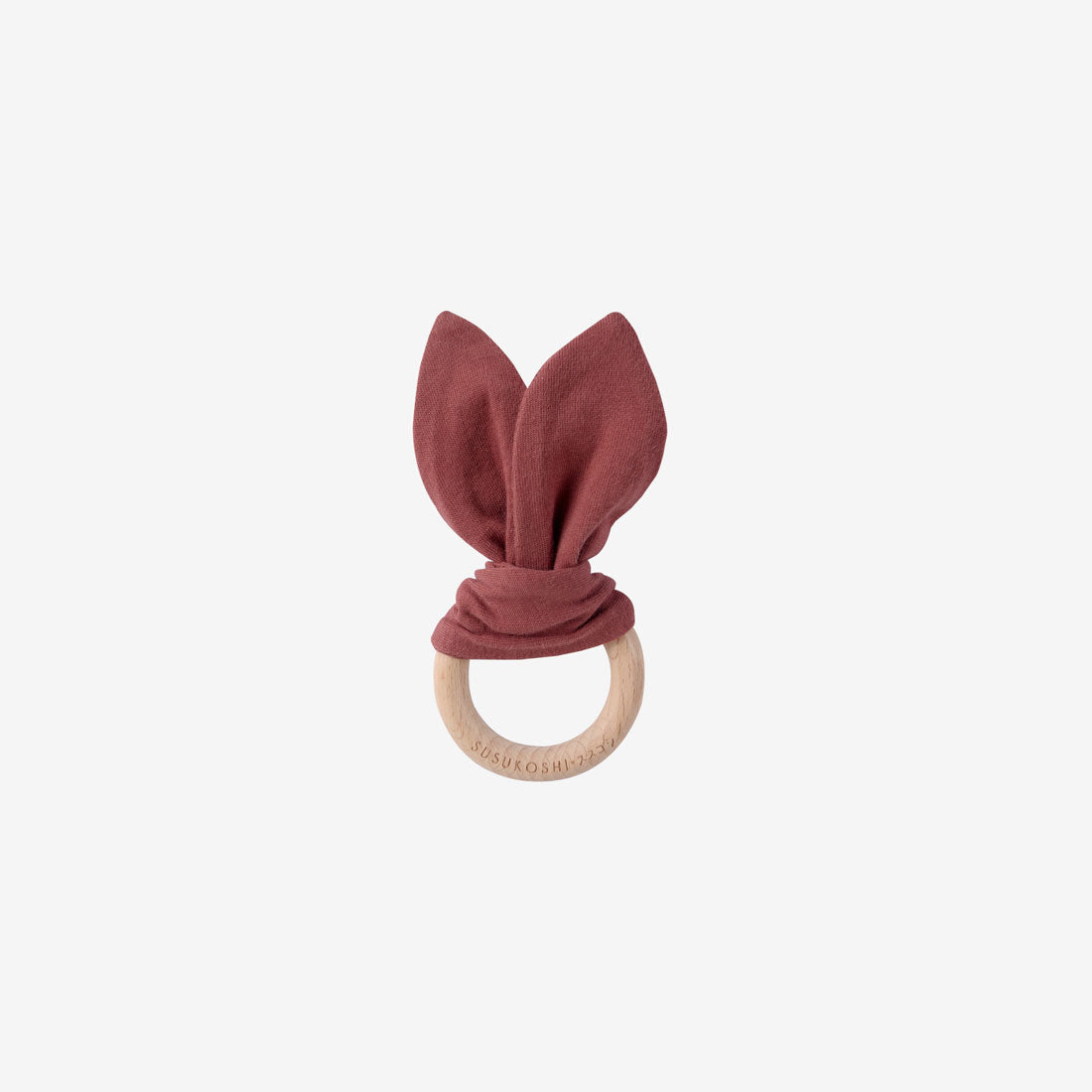 Organic Cotton & Wood Ring Baby Bunny Toy - Burnt Orange