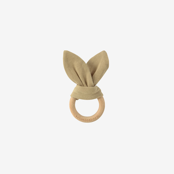 Organic Cotton & Wood Ring Baby Bunny Toy - Milk Tea
