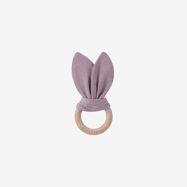 Organic Cotton & Wood Ring Baby Bunny Toy - Periwinkle